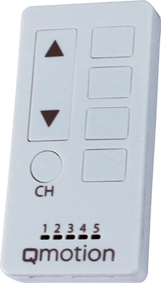 Remote controls for motorized blinds.